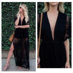 Black lace romper maxi dress